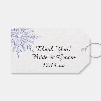 Blue Snowflake on White Winter Wedding Favor Tags