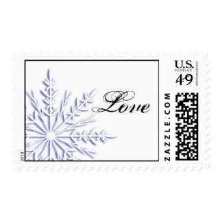 Blue Snowflake on White Winter Wedding Love Postage
