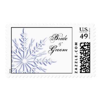 Blue Snowflake on White Winter Wedding Postage
