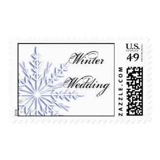Blue Snowflake on White Winter Wedding Postage