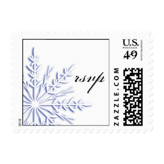 Blue Snowflake on White Winter Wedding RSVP Postage
