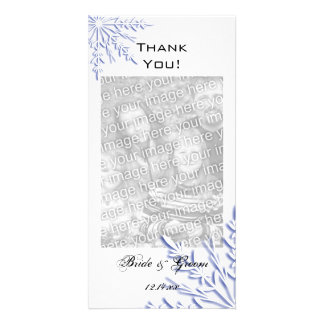 Blue Snowflake on White Winter Wedding Thank You Card