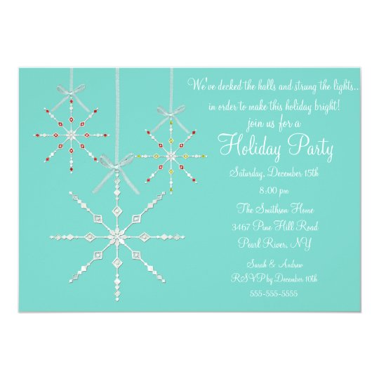 Blue Snowflake Ornament Christmas Party Invitation
