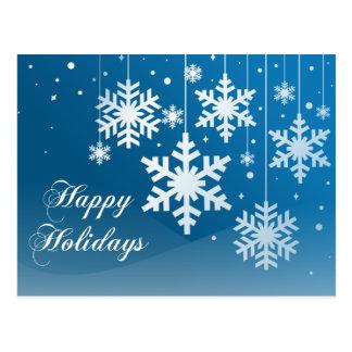 Blue Snowflake Ornaments Christmas Holiday Postcar Postcard