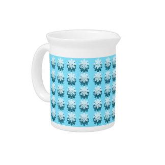 Blue Snowflake Pattern Beverage Pitcher