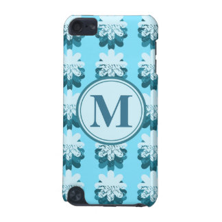 Blue Snowflake Pattern Monogram iPod Touch (5th Generation) Case