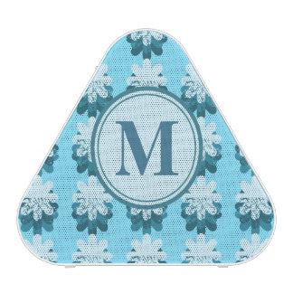 Blue Snowflake Pattern Monogram Speaker
