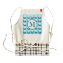 Blue Snowflake Pattern Monogram Zazzle HEART Apron