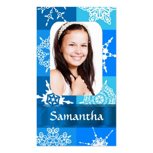 Blue snowflake pattern photo template Double-Sided standard business cards (Pack of 100)