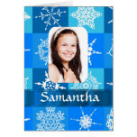 Blue snowflake pattern photo template greeting card
