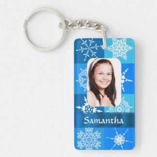 Blue snowflake pattern photo template keychain