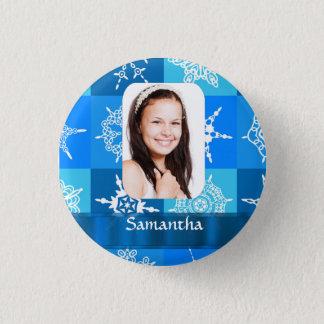 Blue snowflake pattern photo template pinback button