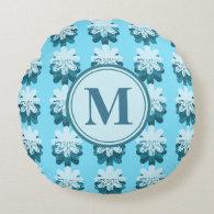 Blue Snowflake Pattern Round Pillow