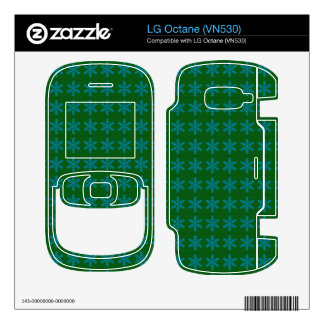 Blue Snowflake Pattern with Green Background Decal For LG Octane