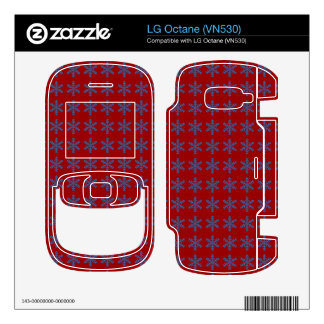 Blue Snowflake Pattern with Red Background LG Octane Decals