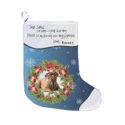 Blue Snowflake PHOTO FRAME for Your Dog's Photo Large Christmas Stocking