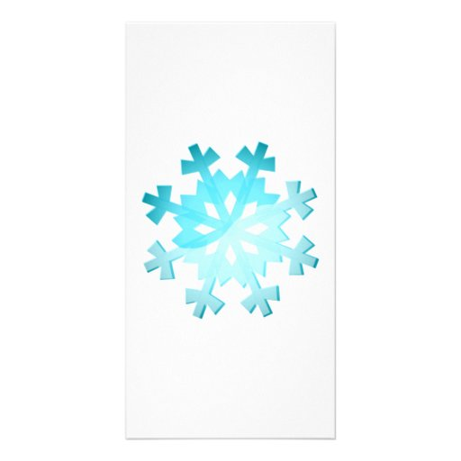 Blue Snowflake Photo Greeting Card