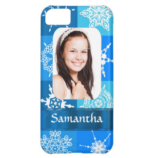 Blue snowflake photo template case for iPhone 5C