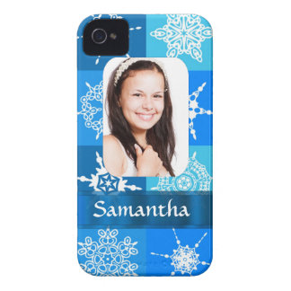 Blue snowflake photo template iPhone 4 cover