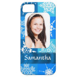Blue snowflake photo template iPhone 5 cases