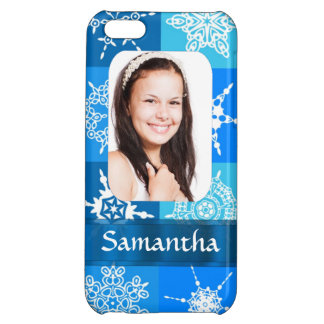 Blue snowflake photo template iPhone 5C cover