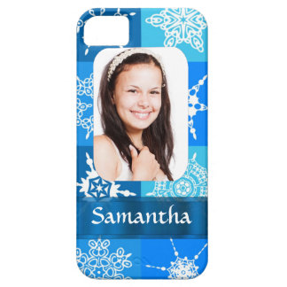 Blue snowflake photo template iPhone SE/5/5s case