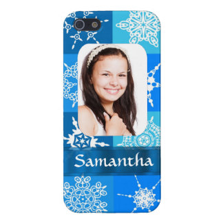 Blue snowflake photo template iPhone SE/5/5s cover