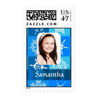 Blue snowflake photo template postage