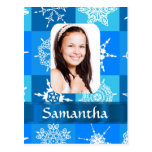 Blue snowflake photo template postcard