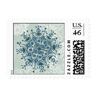 Blue Snowflake Postage Stamps