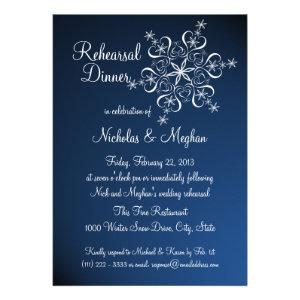Blue Snowflake Rehearsal Dinner Custom Invitation
