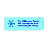 Blue Snowflake Return Address Labels label