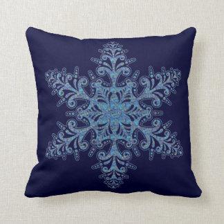 Blue Snowflake Reversible Pillow