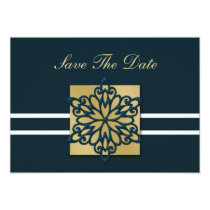 blue snowflake save the date announcement