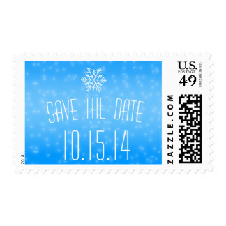 Blue Snowflake Save The Date Winter Wedding Stamp