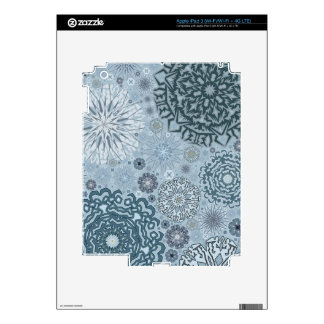 Blue Snowflake Shapes Skin For iPad 3