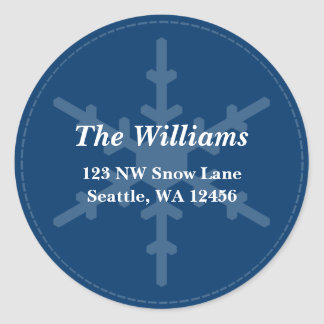 Blue Snowflake Stitch Christmas Address Label