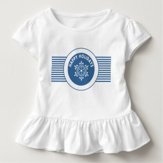 Blue Snowflake Stripes Medallion Holiday Dress Toddler T-shirt