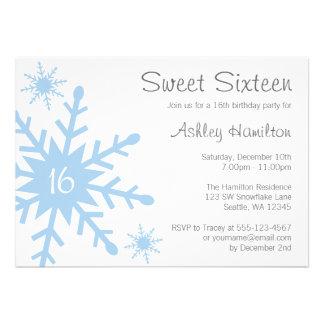 Blue Snowflake Sweet 16 Winter Birthday Invitation Personalized Invites