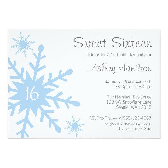 Blue Snowflake Sweet 16 Winter Birthday Invitation