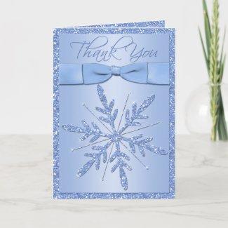Blue Snowflake Thank You Card card
