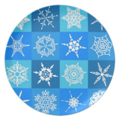 Blue Snowflake Tile Christmas Pattern Gifts Dinner Plate