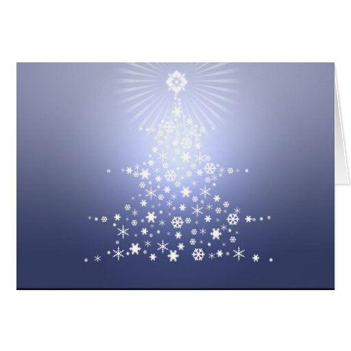 Blue snowflake tree Card