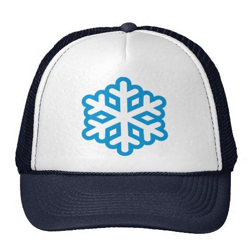 Blue snowflake trucker hat