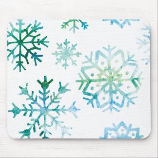 Blue Snowflake Watercolor Art Mouse Pad