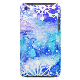 Blue Snowflake Watercolor iPod Touch Case