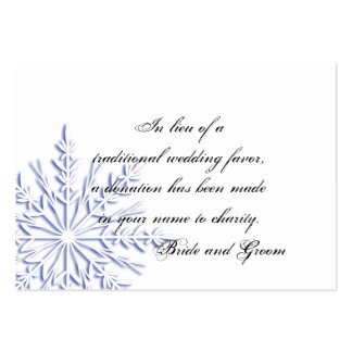 Blue Snowflake Wedding Charity Favor Card Business Cards