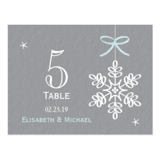 Blue Snowflake Wedding Reception Table Number Card