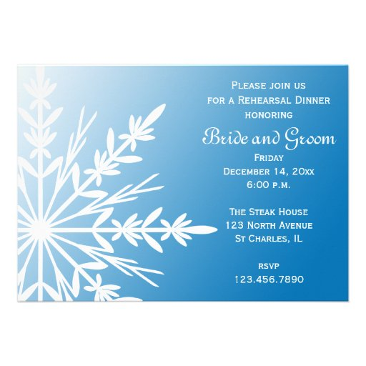 Blue Snowflake Wedding Rehearsal Dinner Invitation