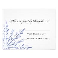 Blue Snowflake Wedding RSVP Response Card Invitation